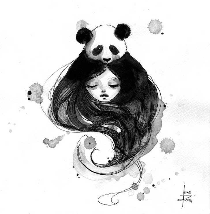 Pandamonium-Panda-and-Maiden-ink-drawings-by-June-Leeloo11__605