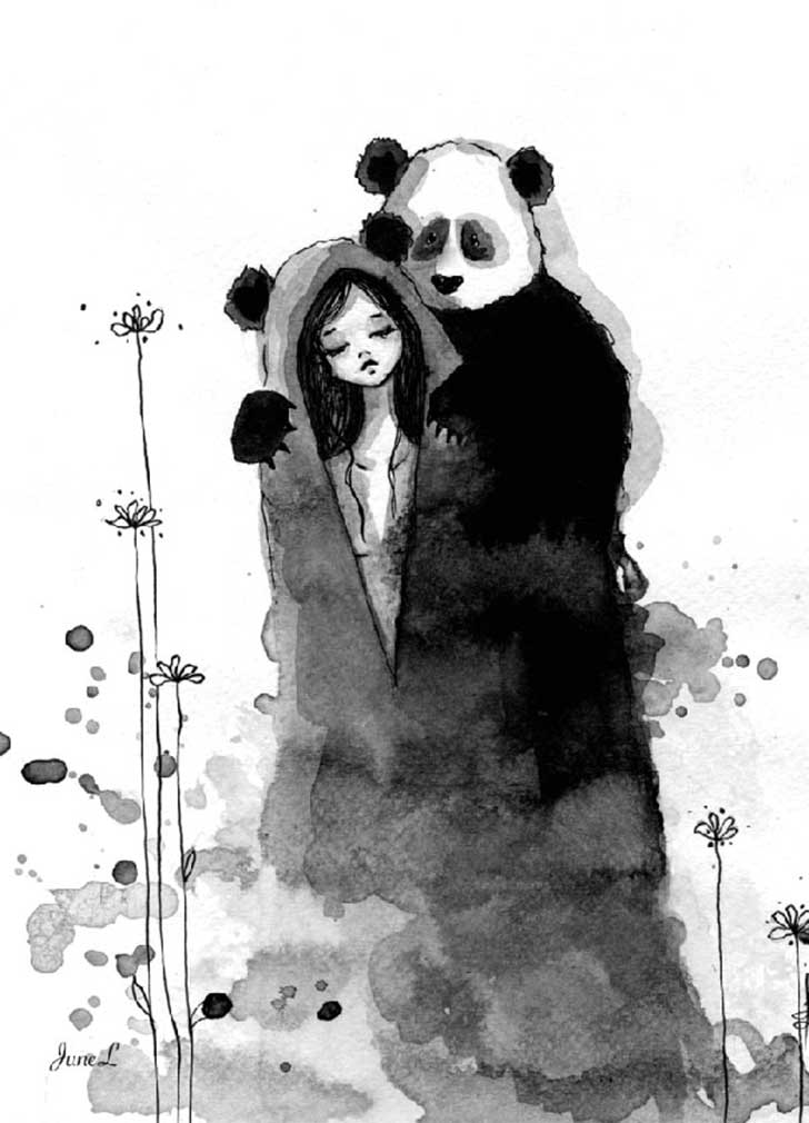 Pandamonium-Panda-and-Maiden-ink-drawings-by-June-Leeloo7__605