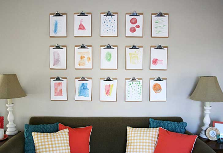 25-DIY-Kids-Clip-Board-Wall-Art