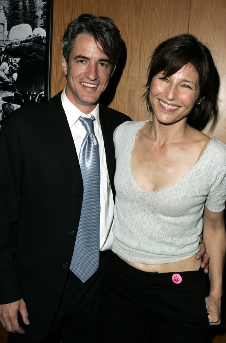 "Dermot Mulroney and Catherine Keener aattend the Palisades Pictures screening of ""Going Upriver: The Long War of John Kerry"" to kick off ITS college tour and DVD release Oct. 19, 2004 at the Director's Guild of America in Los Angeles, California (Photo by J. Vespa / WireImage)"