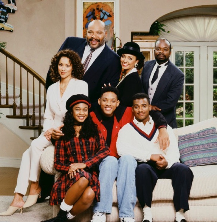 THE FRESH PRINCE OF BEL-AIR -- Season 4 -- Pictured: (l-r) Back: Karyn Parsons as Hilary Banks, James Avery as Philip Banks, Daphne Reid as Vivian Banks, Joseph Marcell as Geoffrey; Front: Tatyana Ali as Ashley Banks, Will Smith as William 'Will' Smith, Alfonso Ribeiro as Carlton Banks -- Photo by: Chris Haston/NBCU Photo Bank
