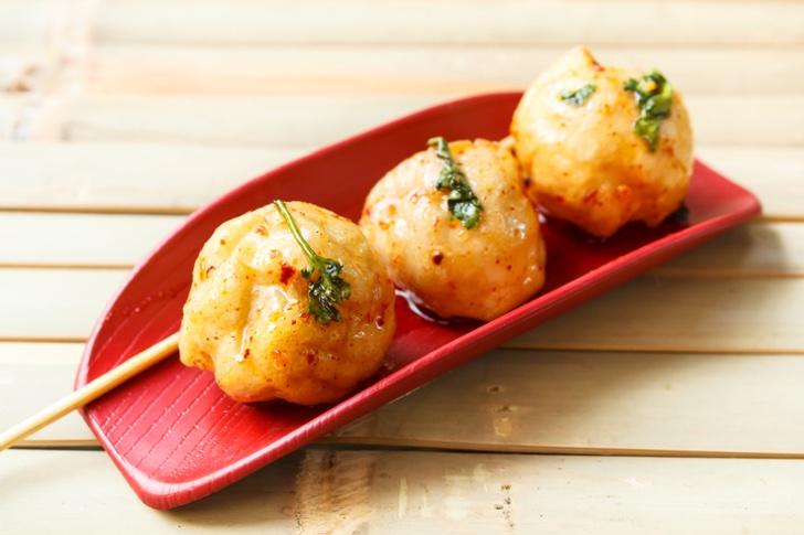 fried fish ball and sweet sauce, thai food.